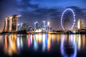 A beautiful view of Singapore at night.